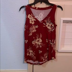 Maurice's 24/7 Red Floral Tank XS